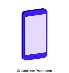 plat, isométrique, smartphone, pictogramme, mobile, logo., infographic., ou, ui, symbole., app, toile, icône, style, conception, 3d
