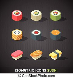 plat, isométrique, sushi, icônes