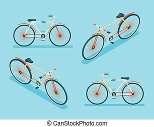 plat, isométrique, symbole, illustration, vecteur, conception, gabarit, vélo, 3d, icône