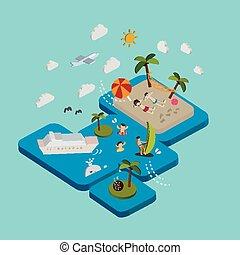 plat, isométrique, vacances, illustration, plage, 3d