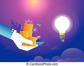 plat, isométrique, vecteur, aimer, conduite, argent, concept., argent., idée, poly, air, regarder, attraction, attraper, regarde, lightbulb., homme, balloon, bas