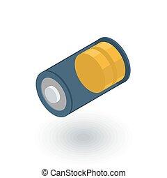 plat, isometric, batterij, aanklacht, vector, laag, icon., 3d