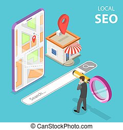 plat, isometric, concept, vector, store., seo, alhier, serching