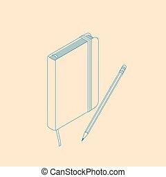 plat, isometric, copybook, notepad, illustratie, vector, pencil.