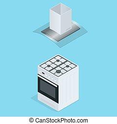 plat, isometric, illustration., kachels, metaal, keuken, cooking., illustratie, vector, interieur, style., pan, 3d