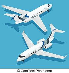 plat, isometric, jet., zakelijk, aircraft., particulier, vliegtuig., vector, illustratie, infographics, jets., collectief, 3d