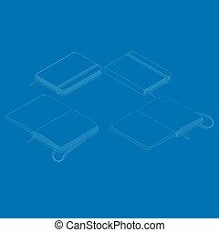 plat, isometric, notepad., copybook, illustratie, vector