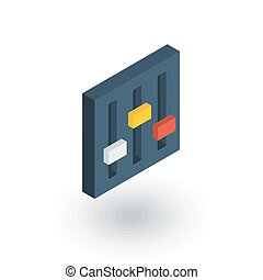 plat, isometric, opstelling, mixer, vector, icon., 3d