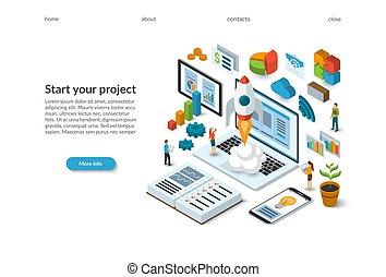 plat, isometric, project., werkende , raketlancering, concept., start, laptop., tussenverdieping, pagina, zakelijk, vector, ontwerp, illustratie, team, nieuw, template., 3d
