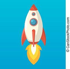 plat, isometric, raket, ruimte, symbool, scheeps , pictogram