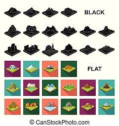 plat, isometric, set, illustration., iconen, symbool,...