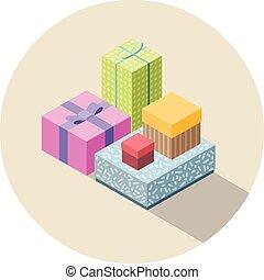plat, isometric, set, kleurrijke, cadeau, present., dozen, vector, ontwerp, 3d