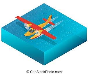 plat, isometric, work., reizen, illustratie, lucht, ...
