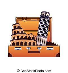 plat, italien, conception, repères, valise, voyage