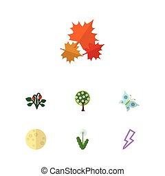 plat, jardin, écologie, ensemble, elements., arbre, inclut, autre, aussi, vecteur, fraise, objects., éclair, baie, monarque, icône