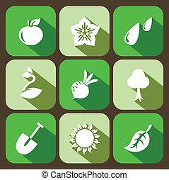plat, jardinage, icônes, ensemble, vecteur, 9
