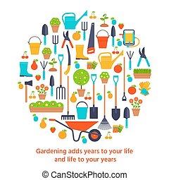 plat, jardinage, jardin, forme., icons., stylisé, vecteur, cercle, outils, illustration.