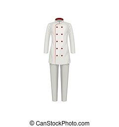 plat, jas, pants., restaurant, cook., uniform, kok, vector, ontwerp, vrouwlijk, worker., wear., kleren, keuken