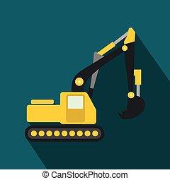 plat, jaune, excavateur, icône