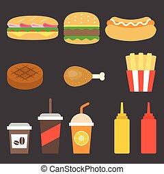 plat, jetez aliment, vecteur, conception, icône
