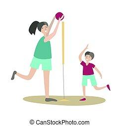 plat, jeu, physique, famille, volleyball., activité, isolé, illustration, fils, jointure, vecteur, white., mère, actif, enfants, sports, recreation., style