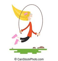 plat, jeune, sauter, isolé, saut, arrière-plan., vecteur, conception, rope., blanc, girl, dessin animé