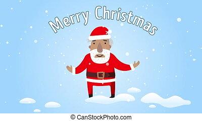 plat, joyeux, texte, e-carte, claus, salutation, félicité, santa, noël., sourire, design.