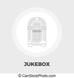 plat, juke-box, icône