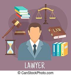 plat, justice, profession, symboles, avocat, icône