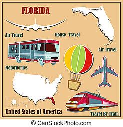 plat, kaart, auto, v.s., florida, lucht, v, train., reizen