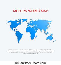 plat, kaart, moderne, wereld, style., 3d