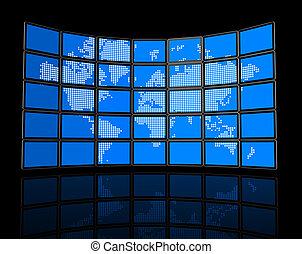 plat, kaart, muur, schermen, tv, video, wereld