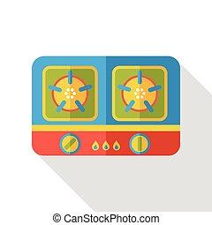 plat, kachels, gas, pictogram