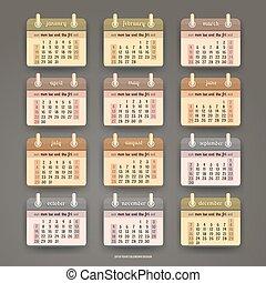 plat, kalender, ontwerp, 2018, jaar