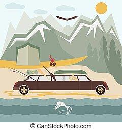 plat, kamperen, ontwerp, glamor, limousine, landscape