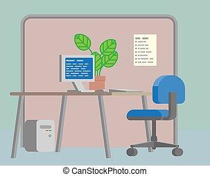 plat, kantoor, achtergrond, bureau, interieur, spotprent