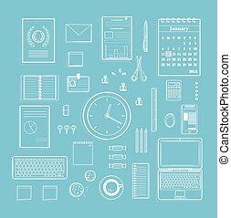 plat, kantoor, lijnen, verzameling, toebehoren, schoonmaken, monochroom, illustrat