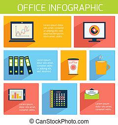 plat, kantoor, zakelijk, mal, infographics
