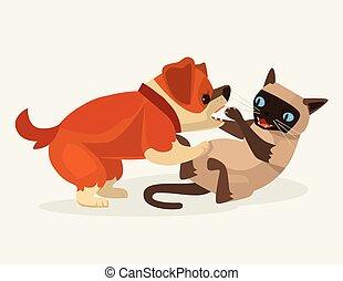 plat, karakter, dog, illustratie, kat, vector, fight., spotprent