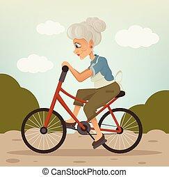 plat, karakter, illustratie, grootmoeder, vector, fietsende , glimlachen gelukkig, spotprent, park.