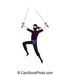 plat, karakter, illustratie, isolated., vecht, ninja, zwaarden, vector
