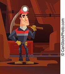 plat, karakter, mijnwerker, illustratie, mine., steenkool, vector, spotprent