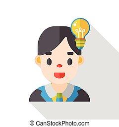 plat, karakter, zakelijk, pictogram