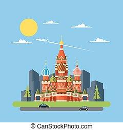 plat, kasteel, ontwerp, rusland