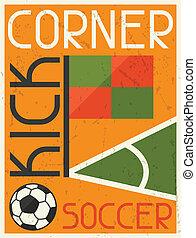 plat, kick., affiche, conception, retro, football, style., conner