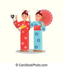 plat, kimonos., smartphone, couple, filles, deux, jeune, clair, vecteur, conception, utilisation, stick., confection, selfie, femmes