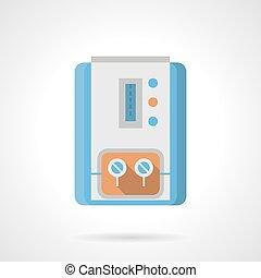 plat, kleur, gas, vector, boiler, pictogram