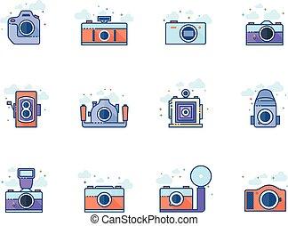 plat, kleur, iconen, -, cameras