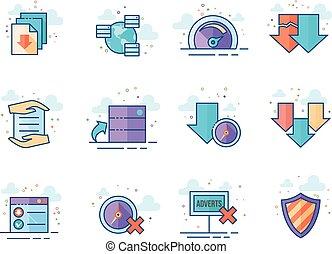 plat, kleur, iconen, -, dossier het delen