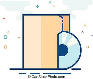 plat, kleur, pictogram, -, audio, bestand
